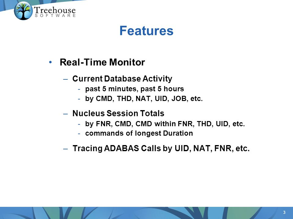 Features Real-Time Monitor Current Database Activity