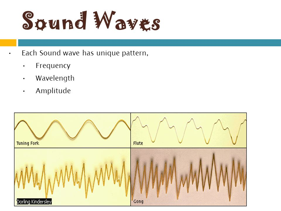Sound Waves Each Sound wave has unique pattern, Frequency Wavelength
