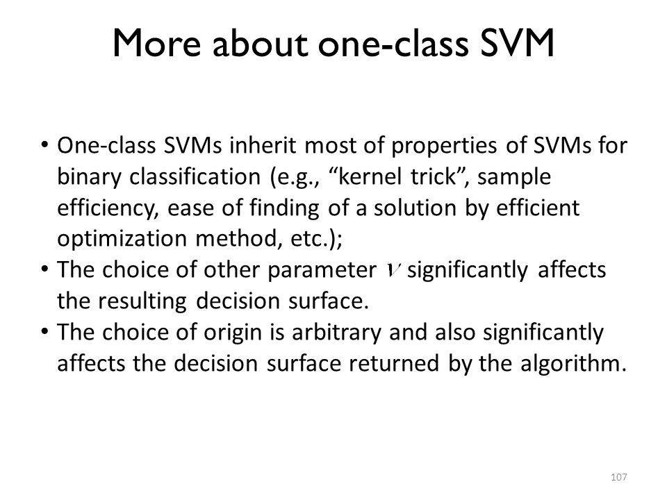 More about one-class SVM