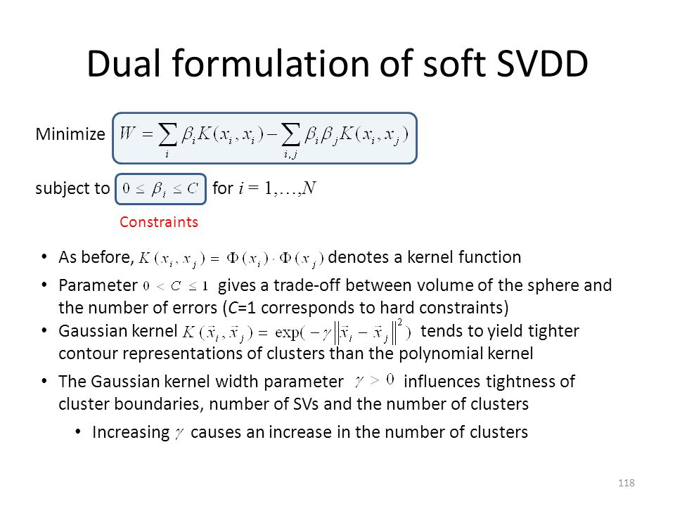 Dual formulation of soft SVDD
