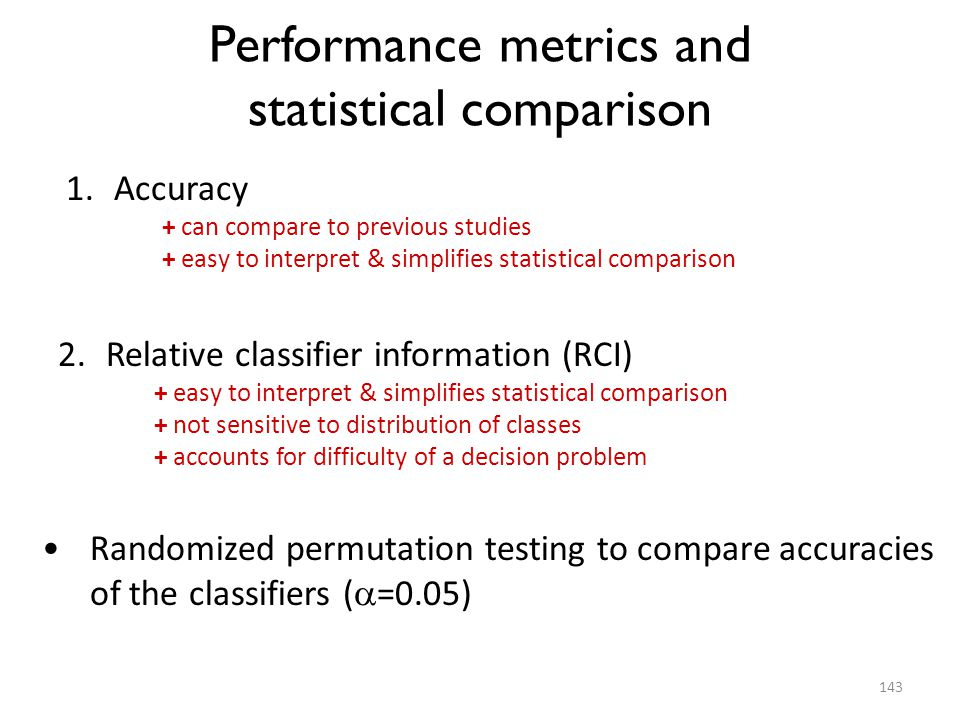 Performance metrics and statistical comparison