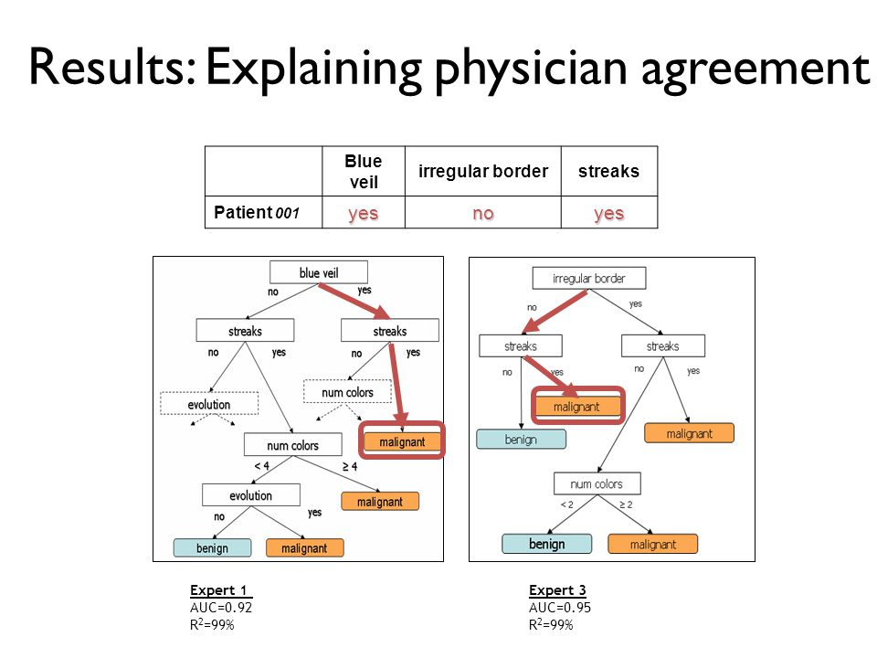 Results: Explaining physician agreement