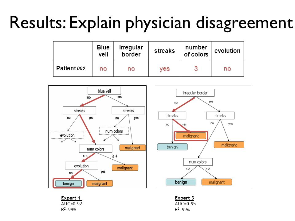 Results: Explain physician disagreement