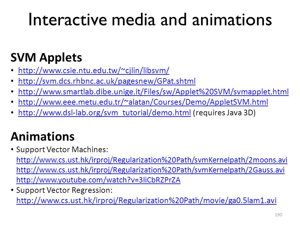Interactive media and animations