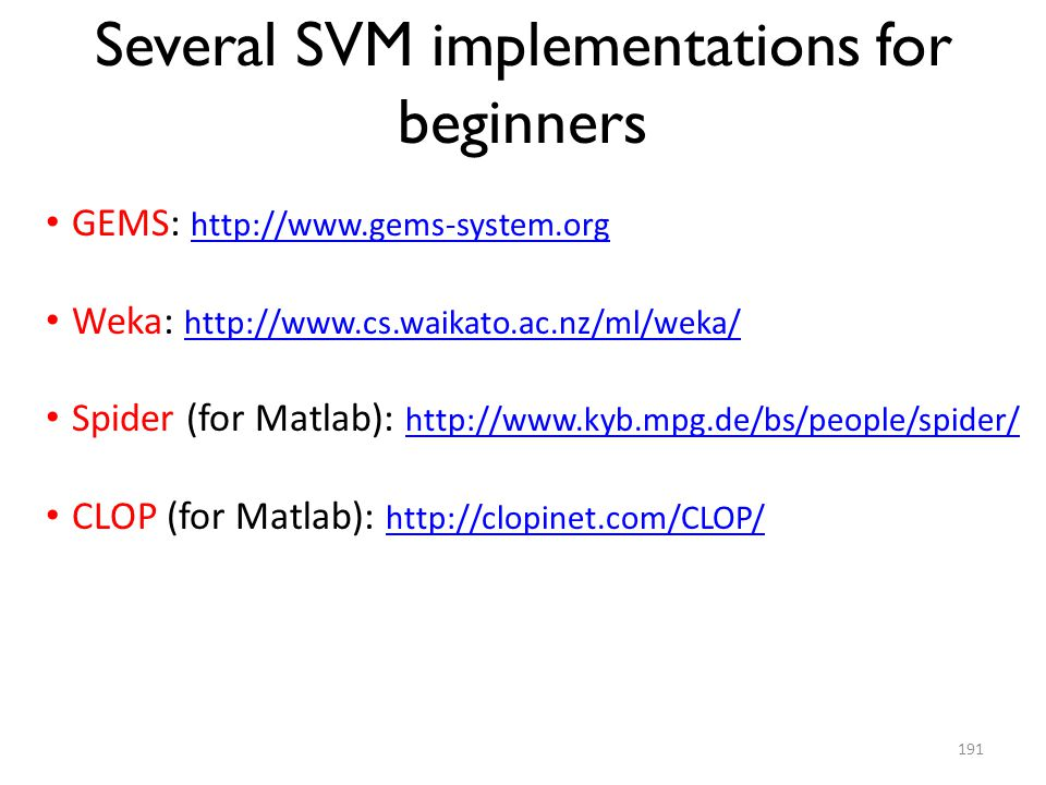 Several SVM implementations for beginners