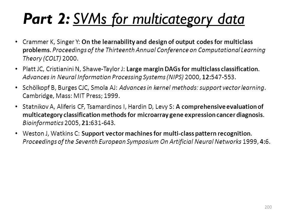 Part 2: SVMs for multicategory data