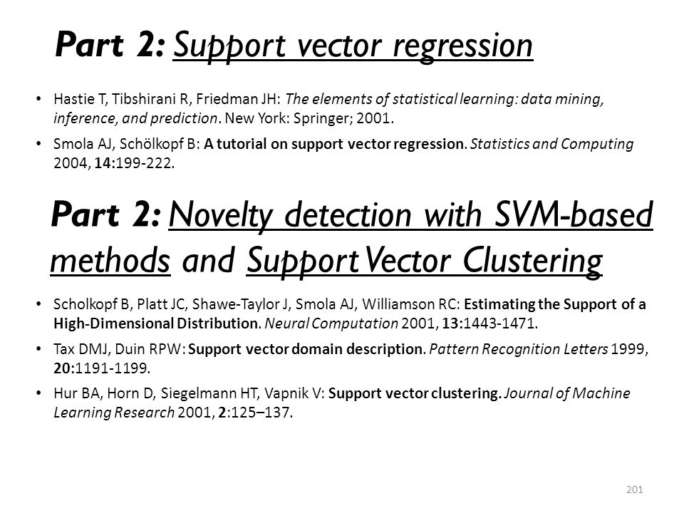 Part 2: Support vector regression
