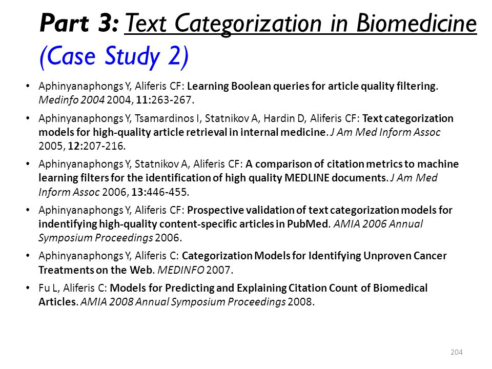 Part 3: Text Categorization in Biomedicine (Case Study 2)