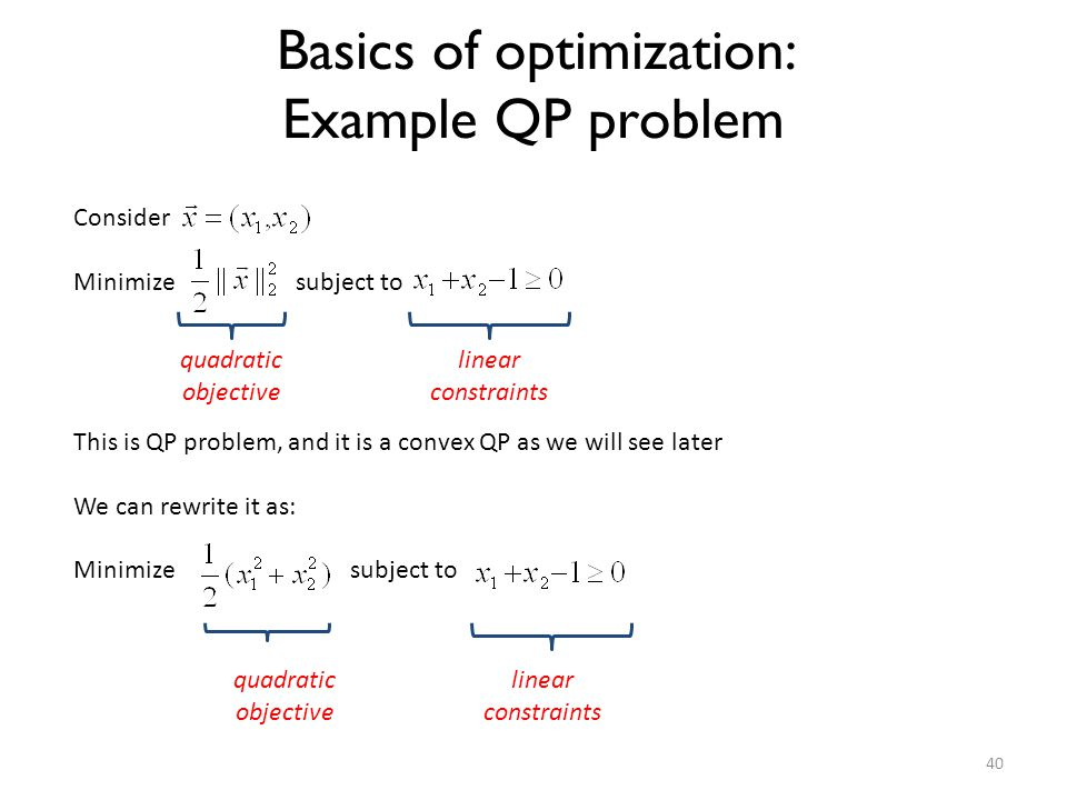Basics of optimization: Example QP problem