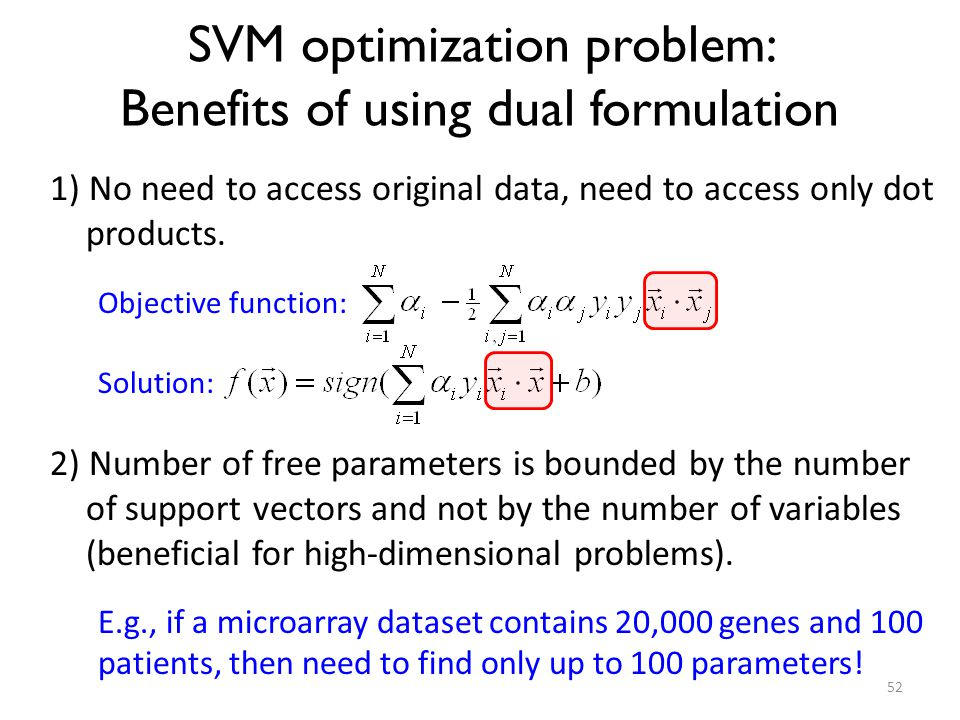 SVM optimization problem: Benefits of using dual formulation