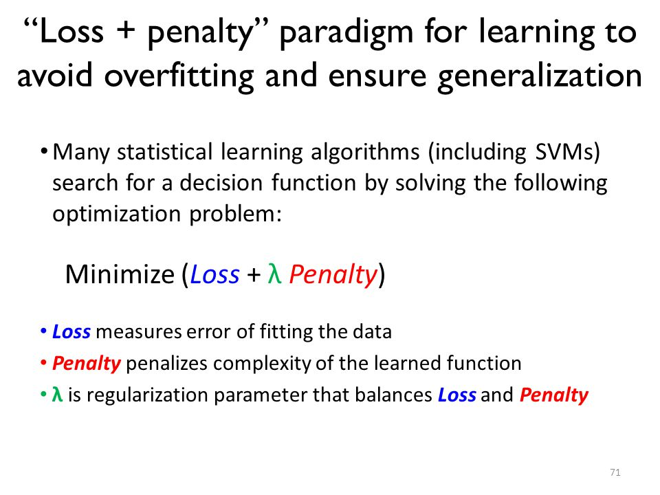 Loss + penalty paradigm for learning to avoid overfitting and ensure generalization