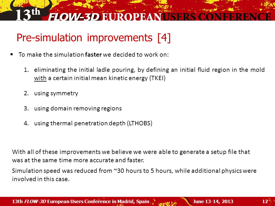 Pre-simulation improvements [4]