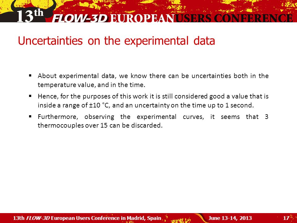 Uncertainties on the experimental data