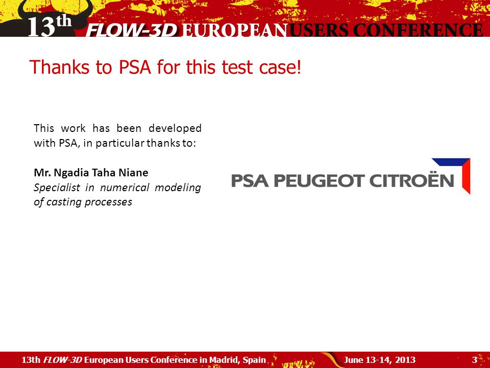 Thanks to PSA for this test case!