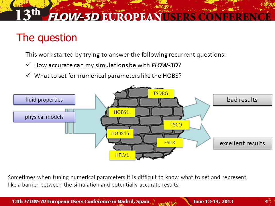 The question This work started by trying to answer the following recurrent questions: How accurate can my simulations be with FLOW-3D