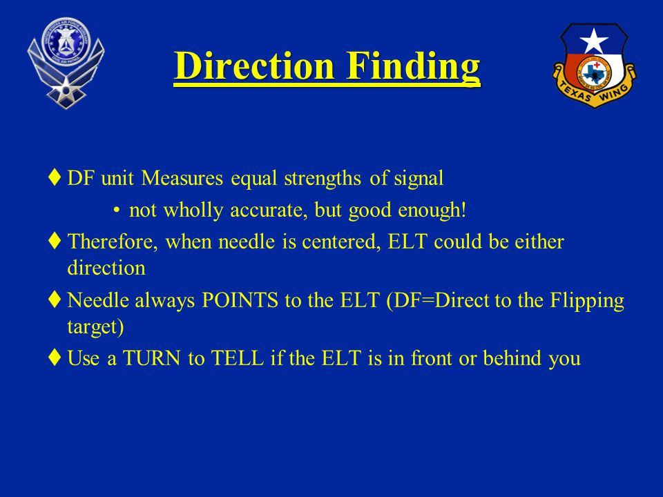 Direction Finding DF unit Measures equal strengths of signal