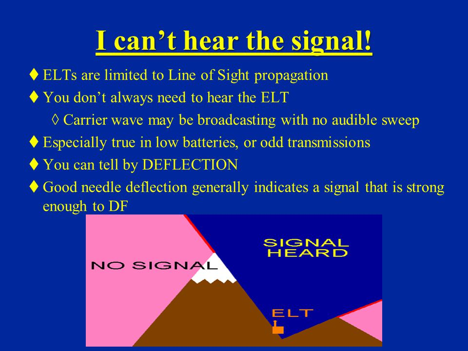 I can't hear the signal! ELTs are limited to Line of Sight propagation