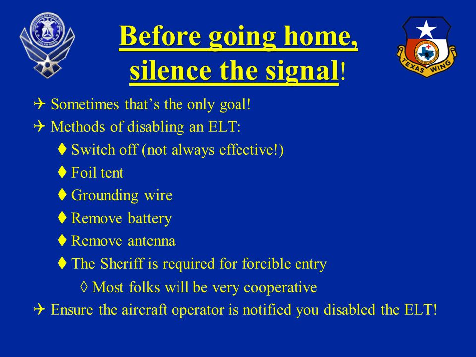 Before going home, silence the signal!