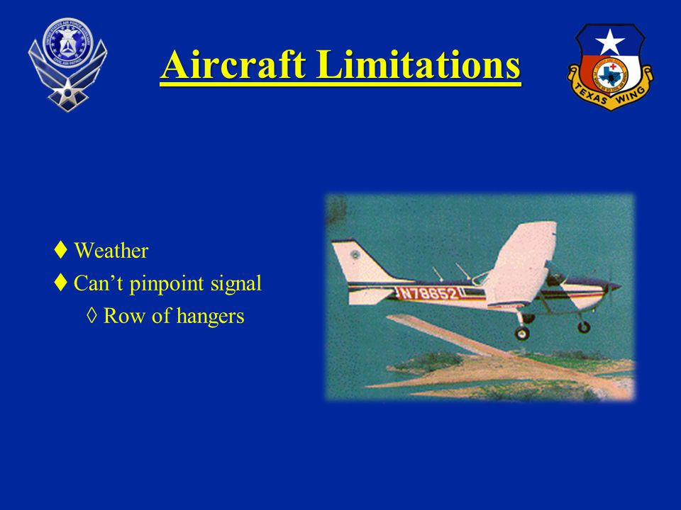 Aircraft Limitations Weather Can't pinpoint signal Row of hangers
