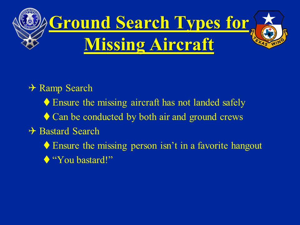 Ground Search Types for Missing Aircraft