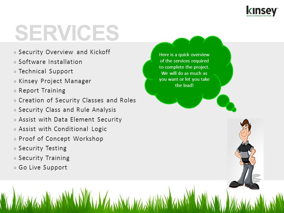 SERVICES Security Overview and Kickoff Software Installation