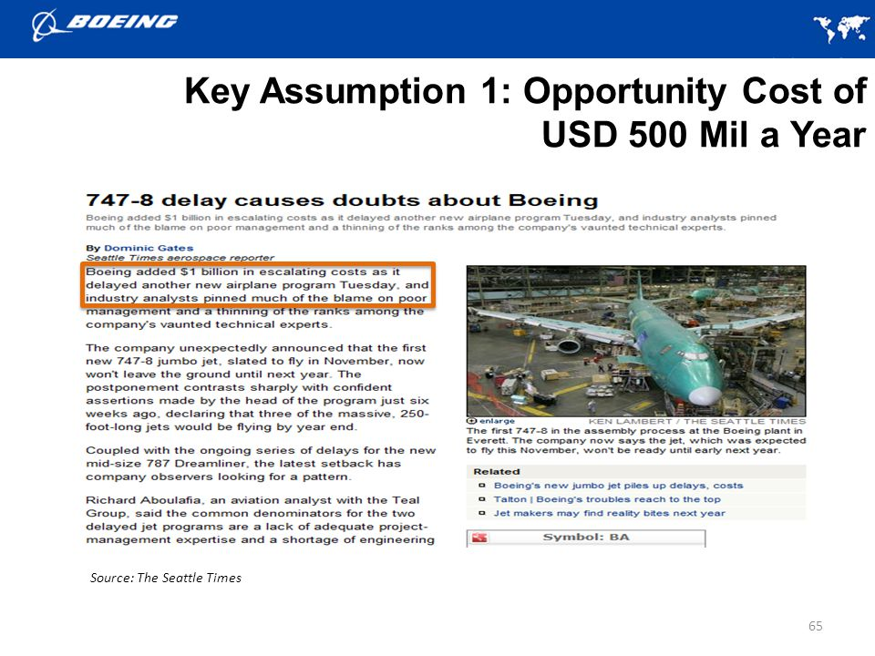 Key Assumption 1: Opportunity Cost of USD 500 Mil a Year