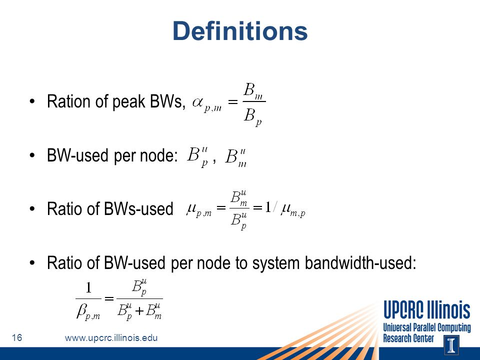 Definitions Ration of peak BWs, BW-used per node: , Ratio of BWs-used