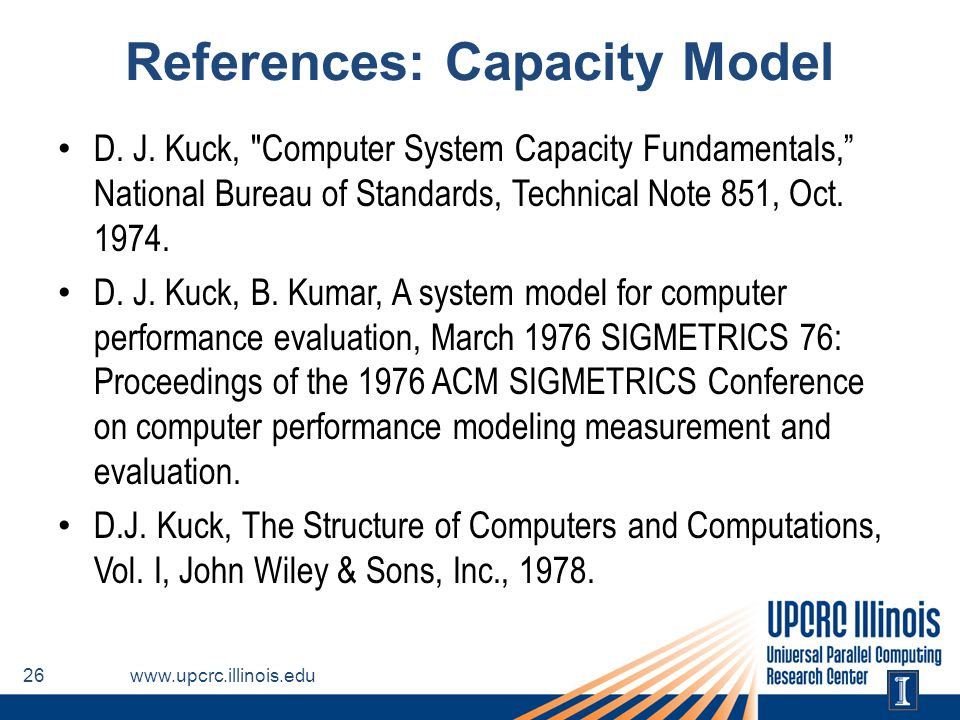 References: Capacity Model