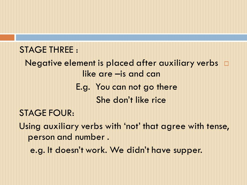 Negative element is placed after auxiliary verbs like are –is and can