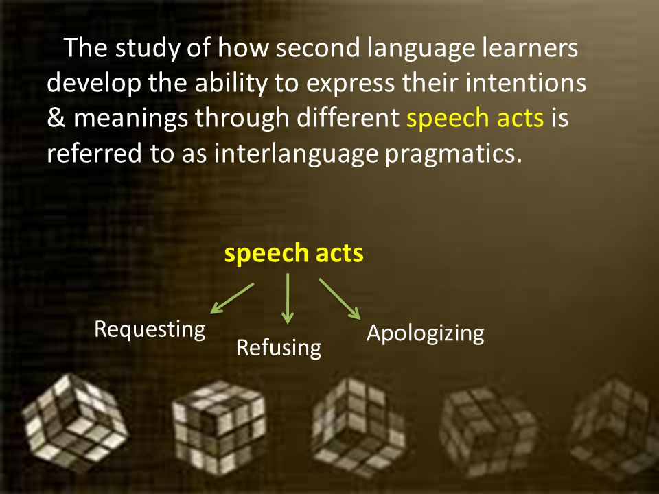 The study of how second language learners develop the ability to express their intentions & meanings through different speech acts is referred to as interlanguage pragmatics.