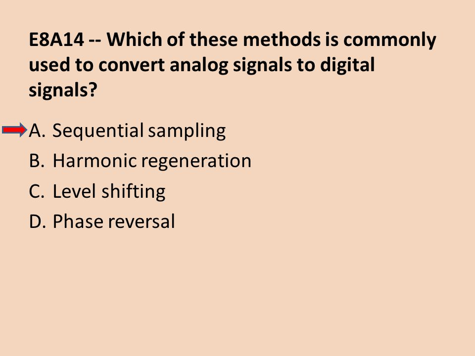 E8A14 -- Which of these methods is commonly used to convert analog signals to digital signals