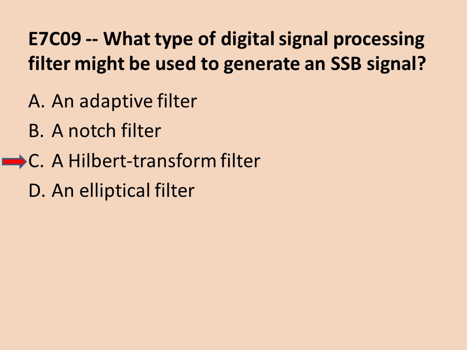 E7C09 -- What type of digital signal processing filter might be used to generate an SSB signal