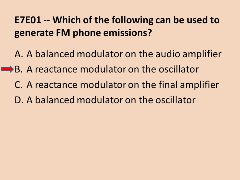E7E01 -- Which of the following can be used to generate FM phone emissions