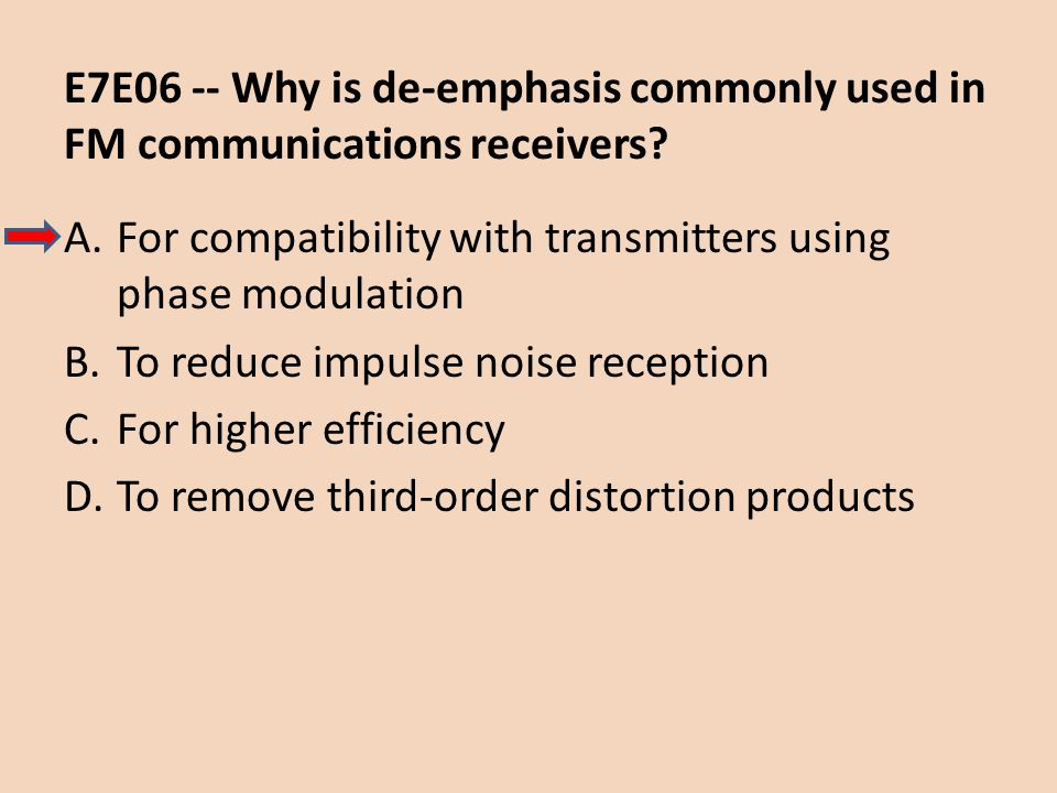 E7E06 -- Why is de-emphasis commonly used in FM communications receivers
