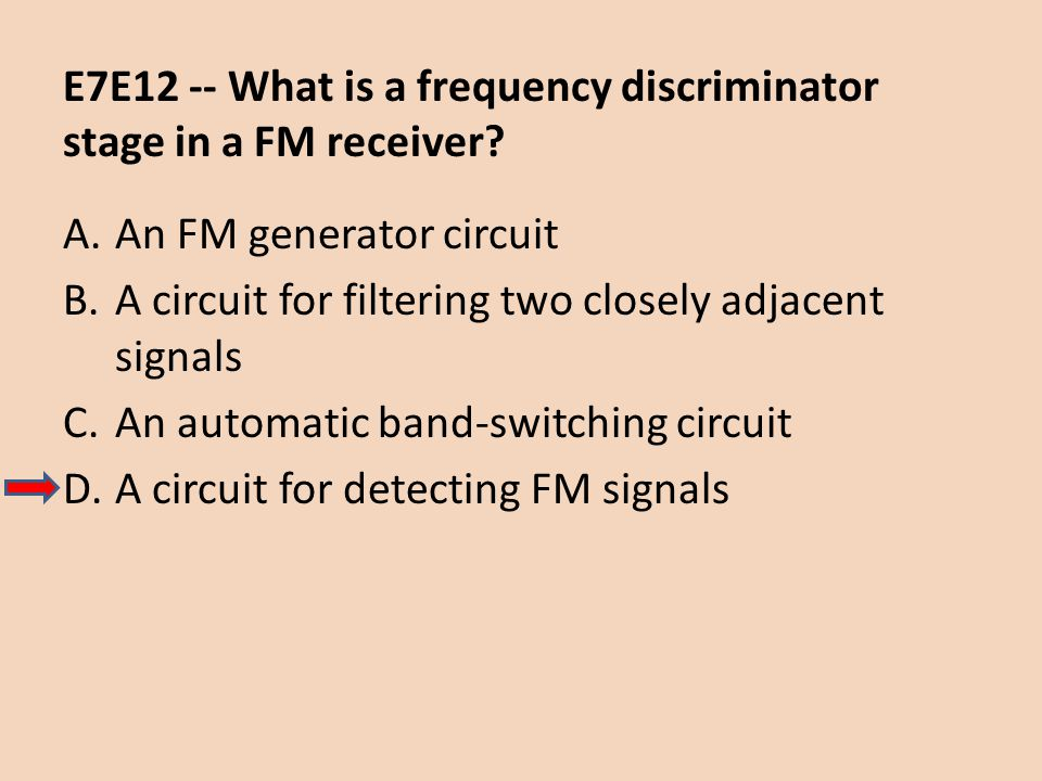 E7E12 -- What is a frequency discriminator stage in a FM receiver