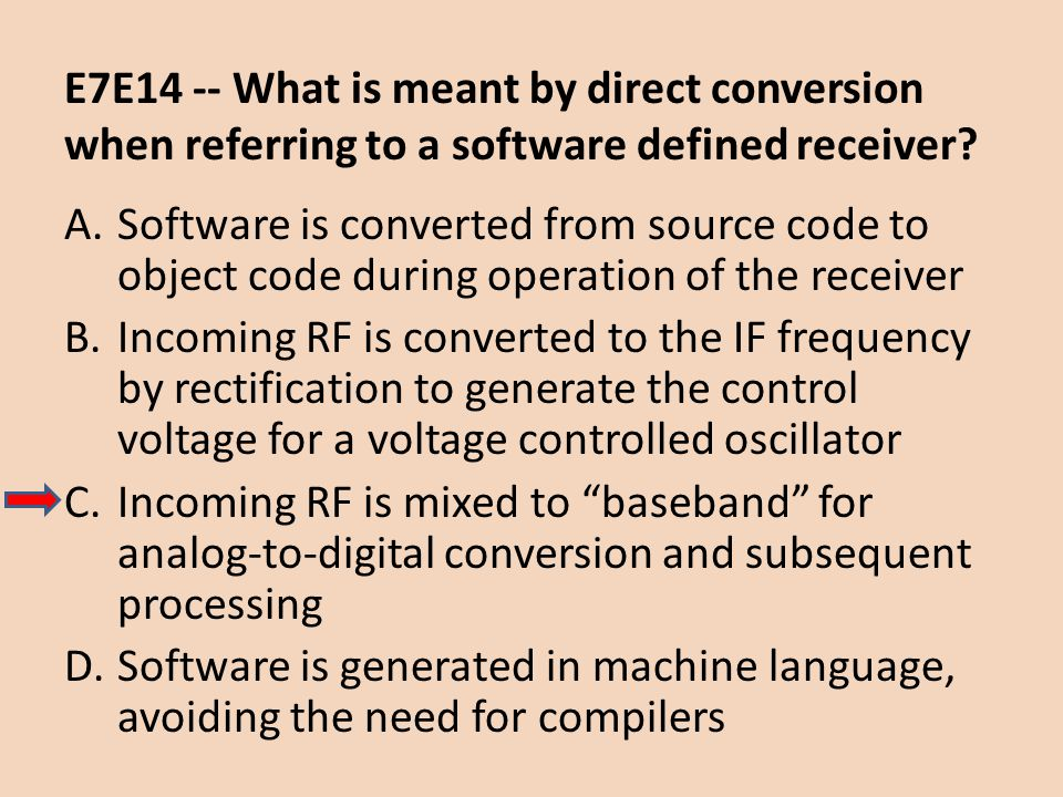 E7E14 -- What is meant by direct conversion when referring to a software defined receiver