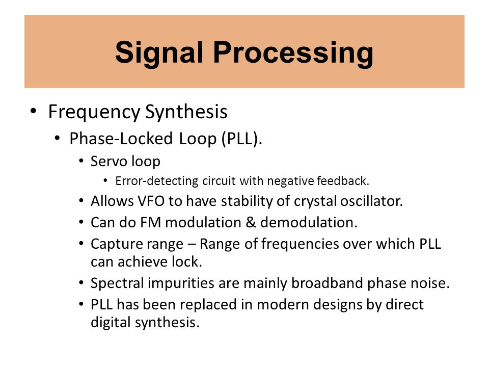 Signal Processing Frequency Synthesis Phase-Locked Loop (PLL).