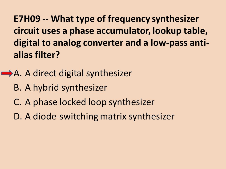 E7H09 -- What type of frequency synthesizer circuit uses a phase accumulator, lookup table, digital to analog converter and a low-pass anti-alias filter