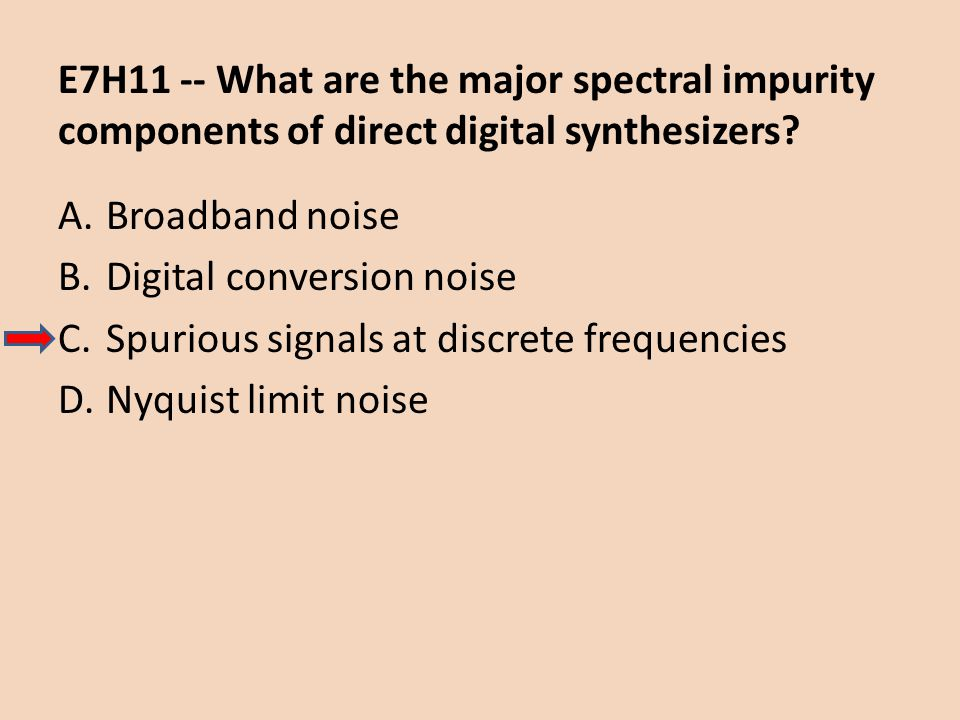 E7H11 -- What are the major spectral impurity components of direct digital synthesizers