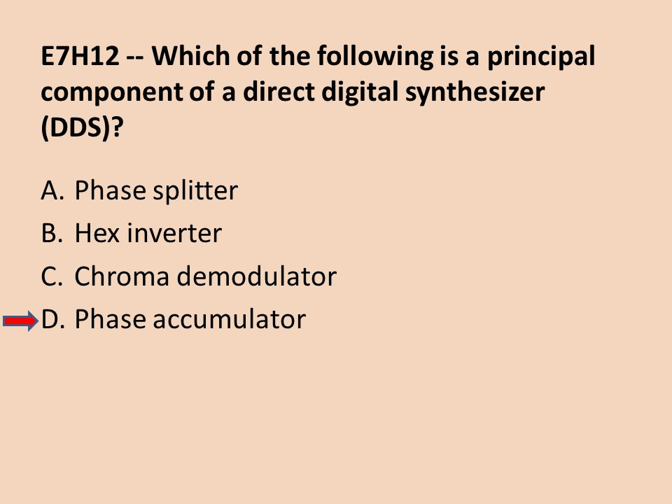 E7H12 -- Which of the following is a principal component of a direct digital synthesizer (DDS)