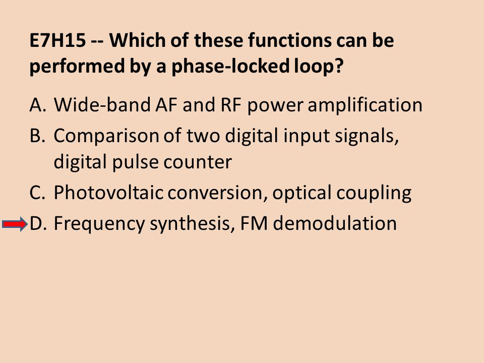 E7H15 -- Which of these functions can be performed by a phase-locked loop