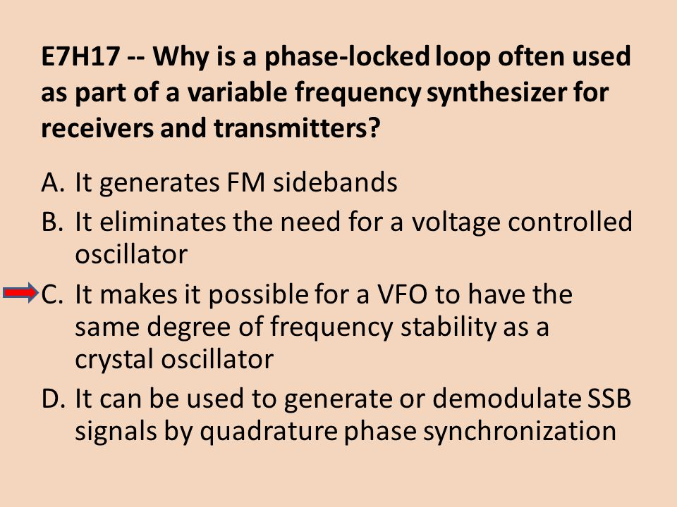 E7H17 -- Why is a phase-locked loop often used as part of a variable frequency synthesizer for receivers and transmitters