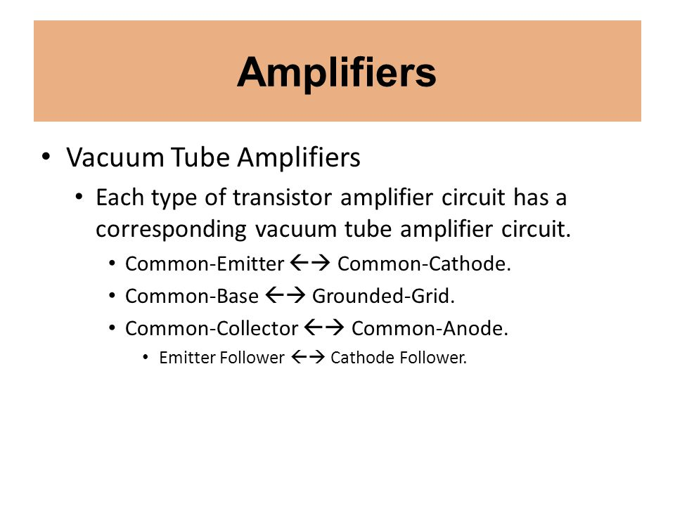 Amplifiers Vacuum Tube Amplifiers