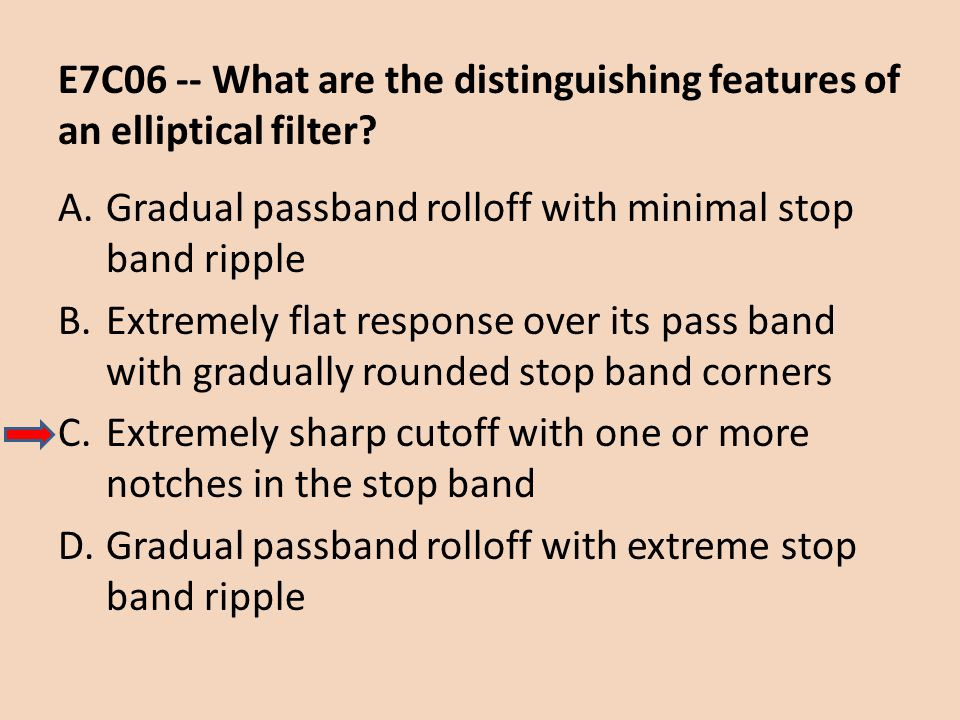 E7C06 -- What are the distinguishing features of an elliptical filter
