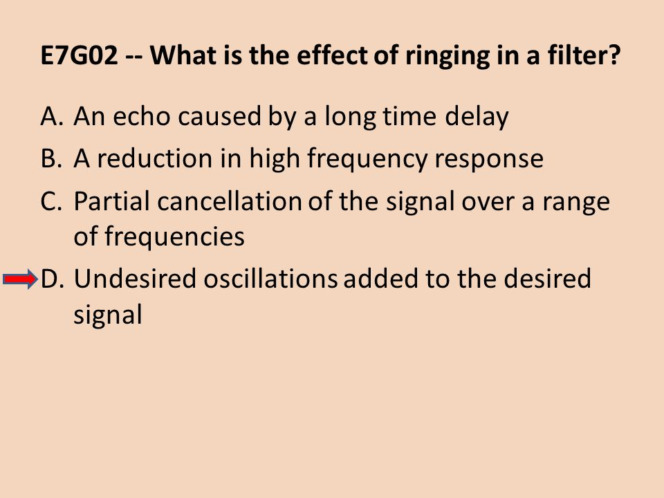 E7G02 -- What is the effect of ringing in a filter
