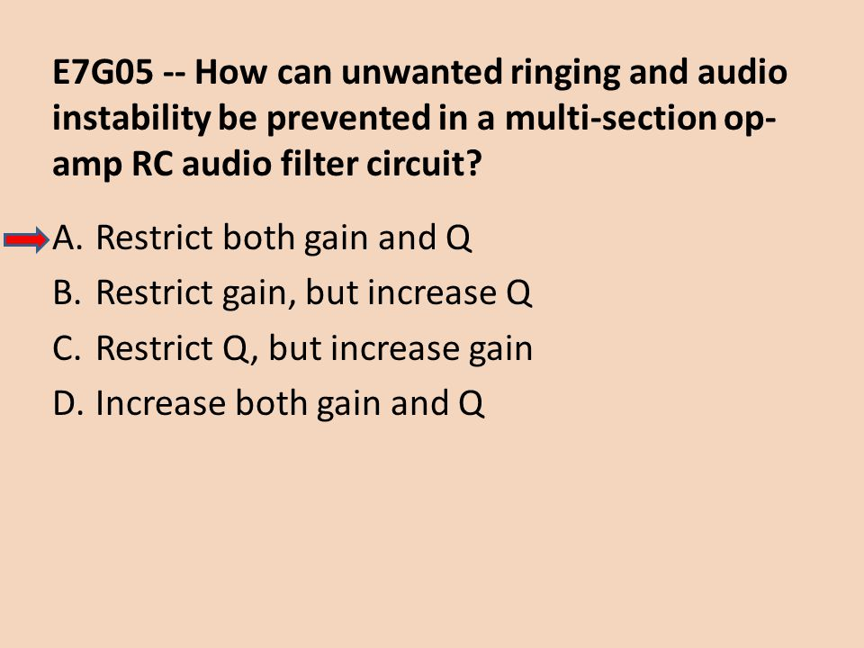 E7G05 -- How can unwanted ringing and audio instability be prevented in a multi-section op-amp RC audio filter circuit