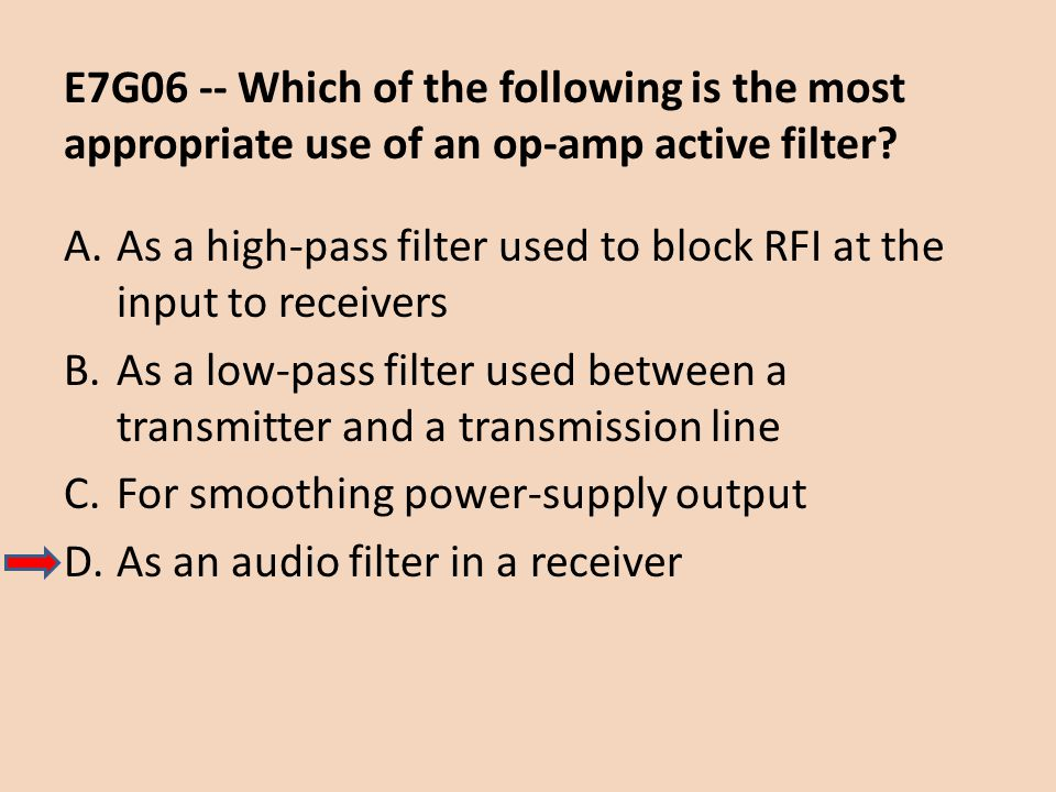 E7G06 -- Which of the following is the most appropriate use of an op-amp active filter