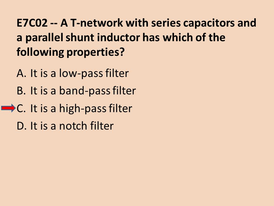 E7C02 -- A T-network with series capacitors and a parallel shunt inductor has which of the following properties