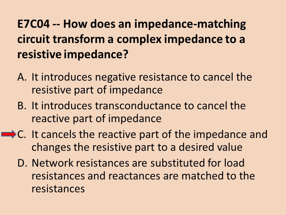 E7C04 -- How does an impedance-matching circuit transform a complex impedance to a resistive impedance