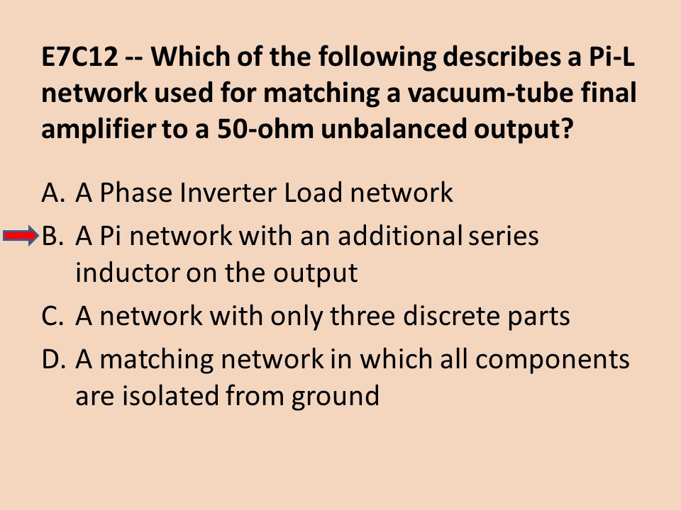 E7C12 -- Which of the following describes a Pi-L network used for matching a vacuum-tube final amplifier to a 50-ohm unbalanced output